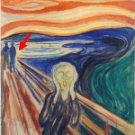The painting, 'The Scream' by Edvard Munch. A red arrow points to the region next to the couple in background where the faded paint was sampled