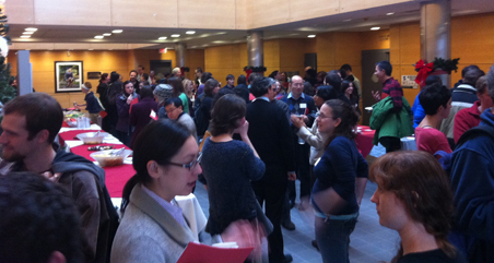 Symposium attendees at a reception