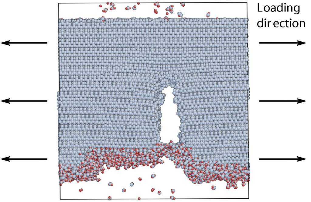 Snapshot of molecular dynamics simulation of the onset of failure from an oxidized Si (111) surface containing a step of several atomic layers.
