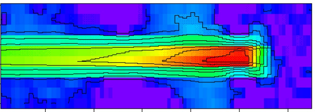 Temperature field for a crack growing dynamically in Beta-C Titanium.