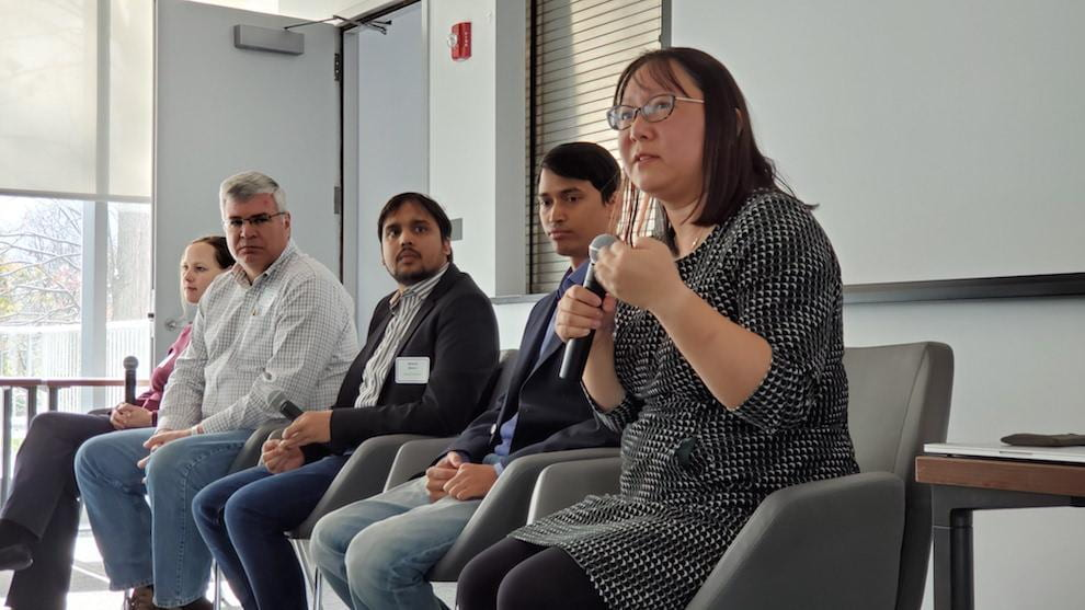 The Session II panelists described their work in the Messy World ecosystem of Digital Agriculture (left to right): Prof. Kirstin Petersen (Cornell), Chris Layer (Moog), Dr. Anand Mishra (Cornell), Dr. Anirudh Badam (Microsoft), Prof. Wendy Ju, (Cornell Tech)