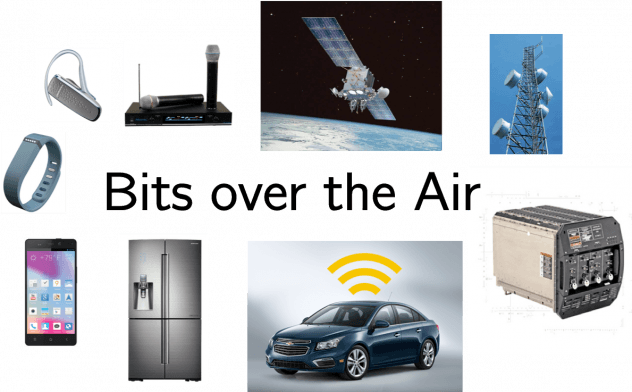 Bits over air graphic showing several electronics and appliances items connected to internet of things such as smart phone, car, and satellite.