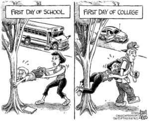 First day of school and first day of college cartoon