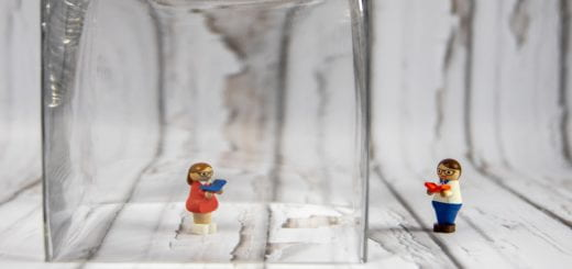 Lego figures under glass