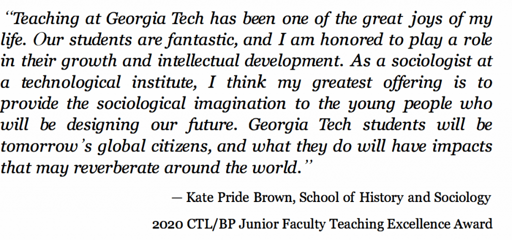 Quote from Katie Pride Brown on teaching as a pleasure and privilege