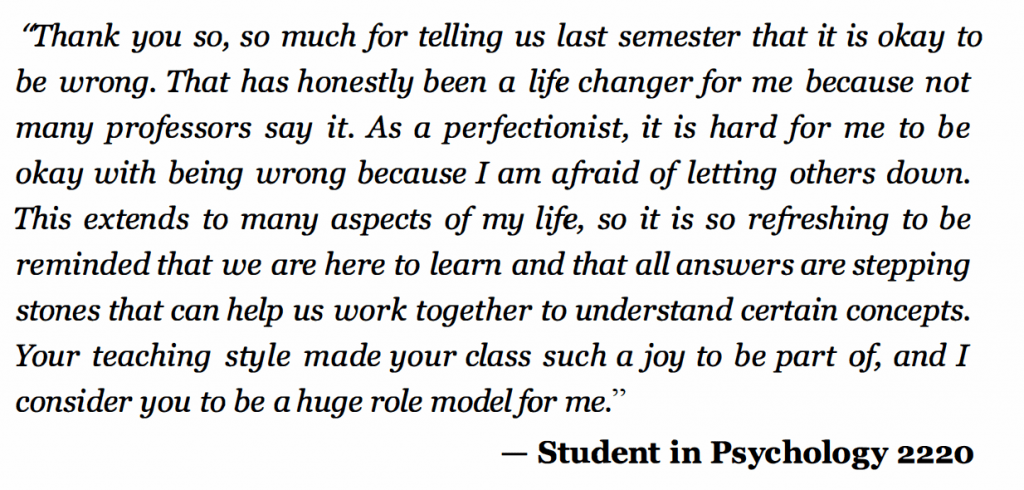 Student thanks professor for saying it's OK to be wrong