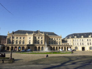 A view from the outside of the Opera: The Metz Opera is stunning during the day but even more stately at night