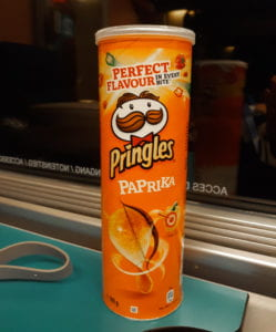 A can of Paprika Pringles. Paprika Pringles are the best traveling companion.