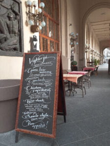 The menu of the elegant Vígvarjú Étterem, along the east bank of the Danube, advertising the specials of the day. It's my opinion that whoever did this calligraphy deserves a raise