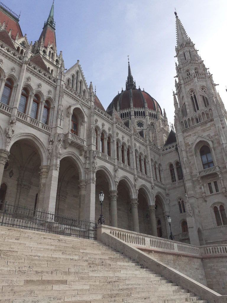 The west-facing side of the Hungarian Parliament Building