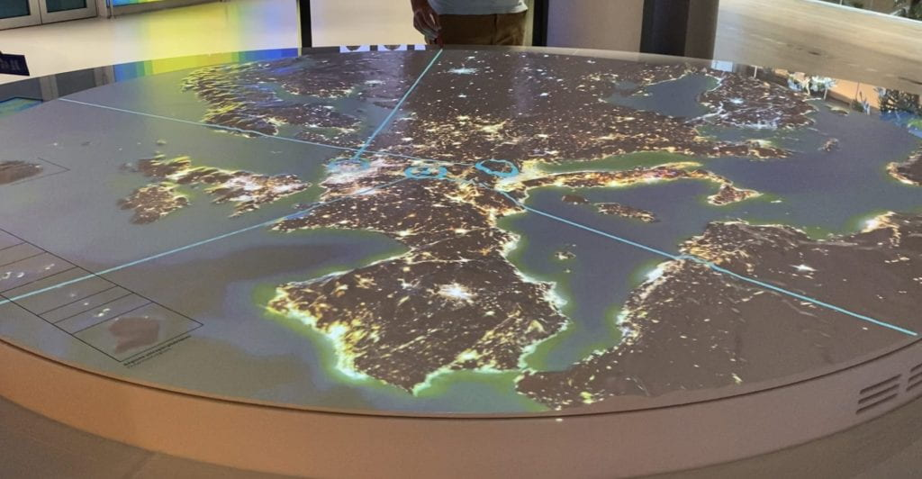 The interactive map at the EU Parliament building.