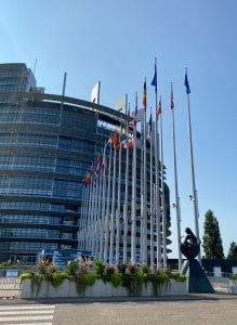 The EU Parliament Building in Strasbourg, France.