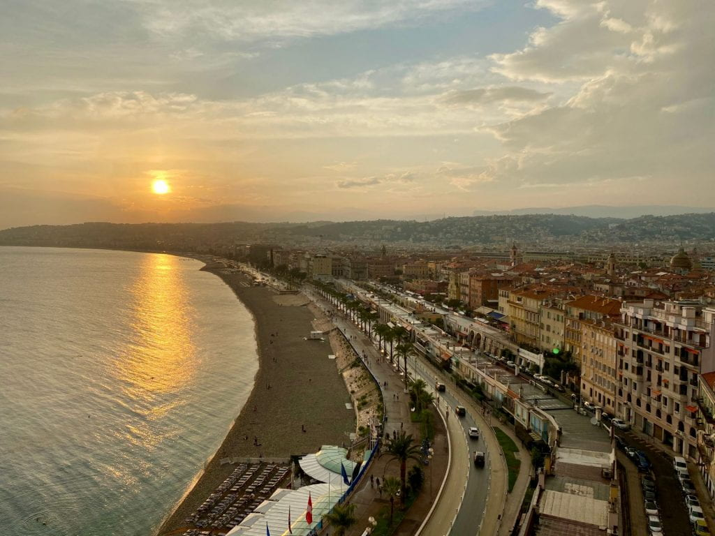 A view of Nice at sunset