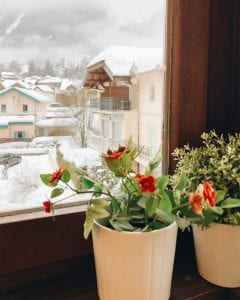 a view at a a snowy village