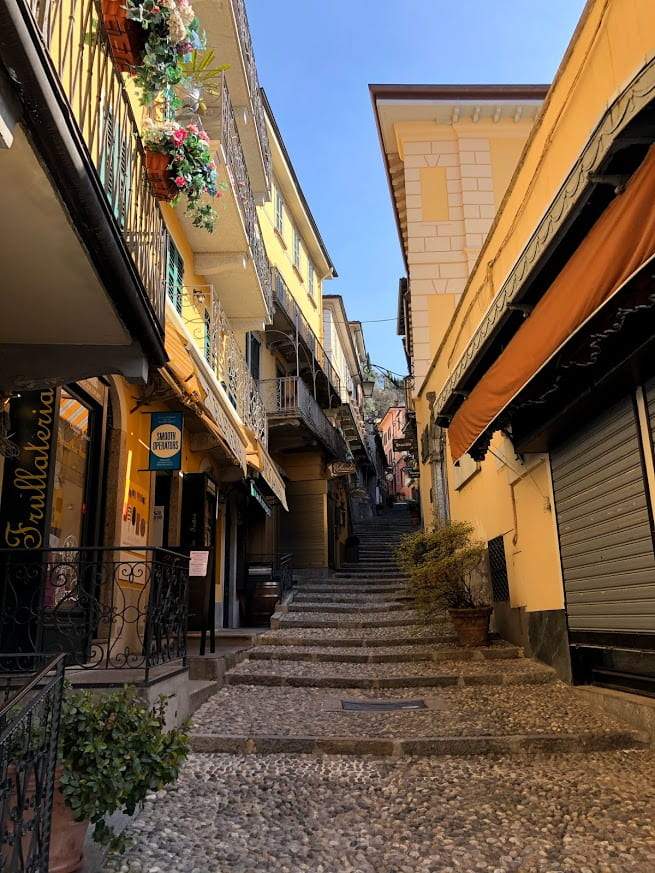 This is a picture of a usually crowded street in Bellagio, Italy.