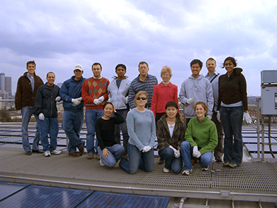 Energy Technology and Policy class at the solar power arrays on the roof of the Campus Recreation Center.
