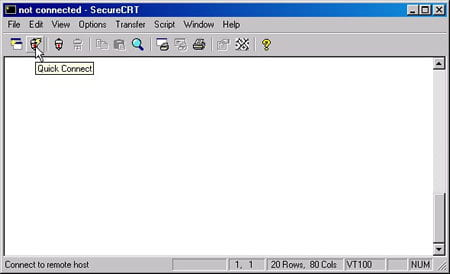 Screenshot of SecureCRT main window.