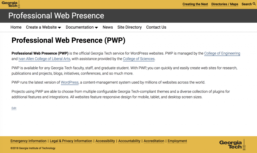 Screenshot of GT Theme on the PWP website.