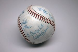 Image of an Atlanta Braves baseball given to Carolyn Lee Wills