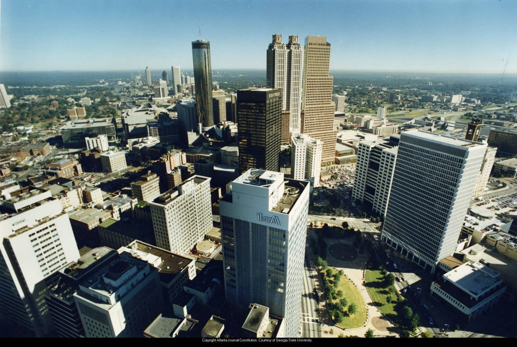 Downtown_district_aerial_view_1990