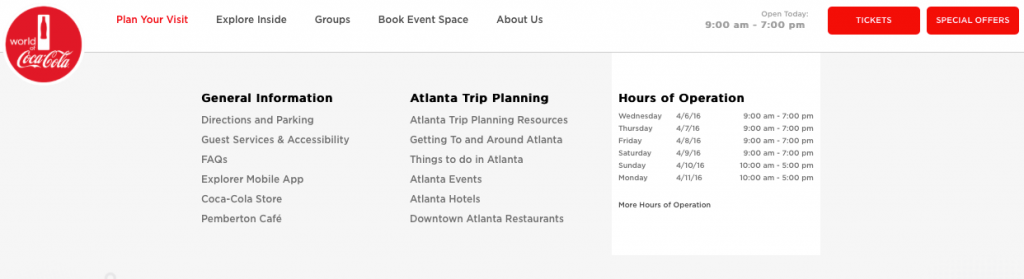 plan your visit drop down menu