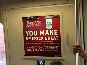 As seen on the East-West Blue line...ad on MARTA