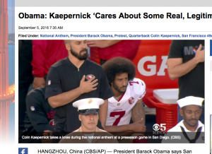 """Colin Kaepernick takes a knee during the national anthem at a preseason game in San Diego. (CBS)"""
