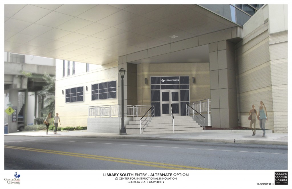 rendering of new CII entrance on Decatur Street