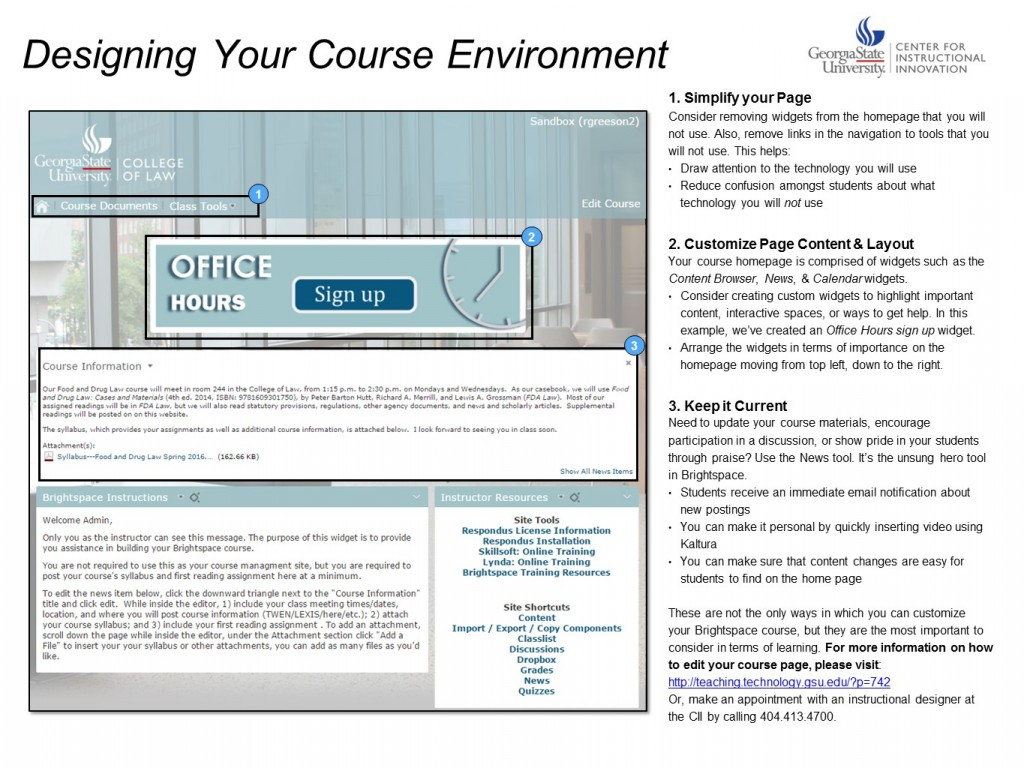 Designing your course environment