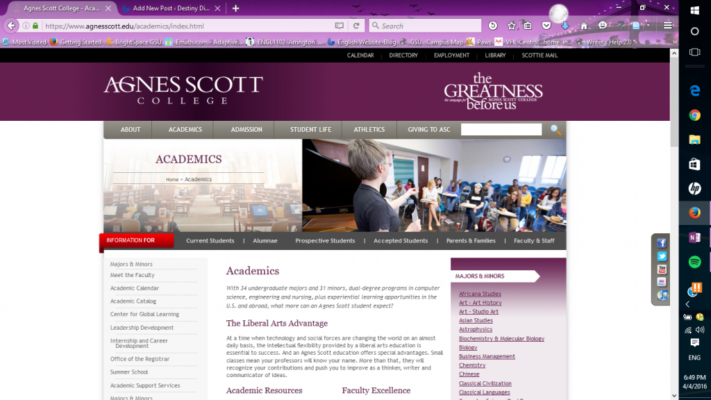 Screenshot of the Academics page, from: agnesscott.edu