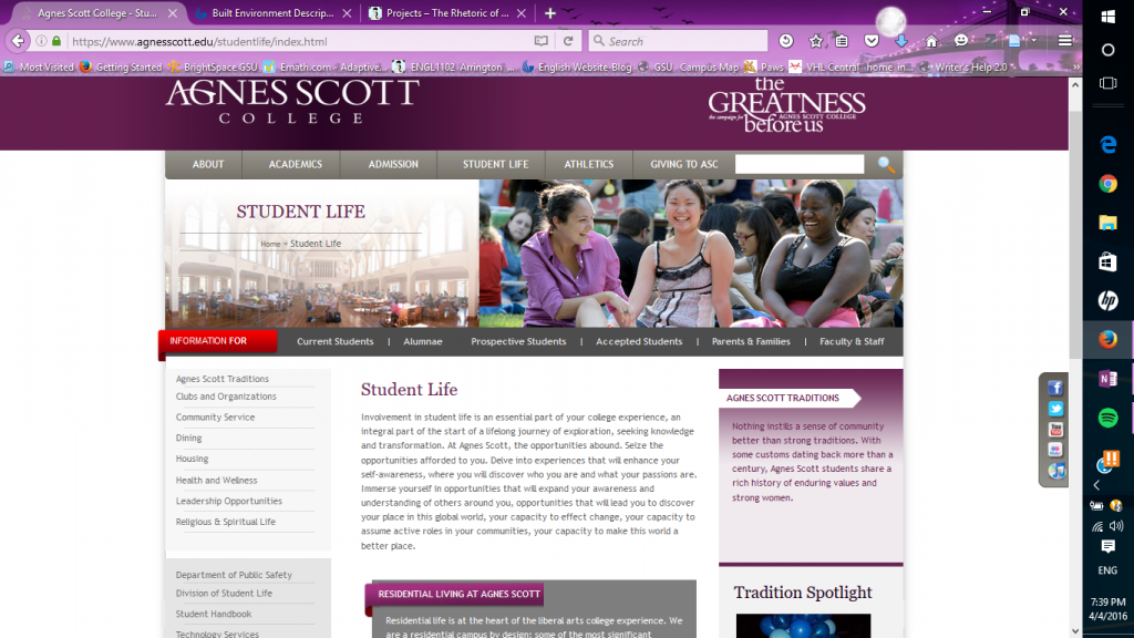 The student life page, from: agnesscott.edu