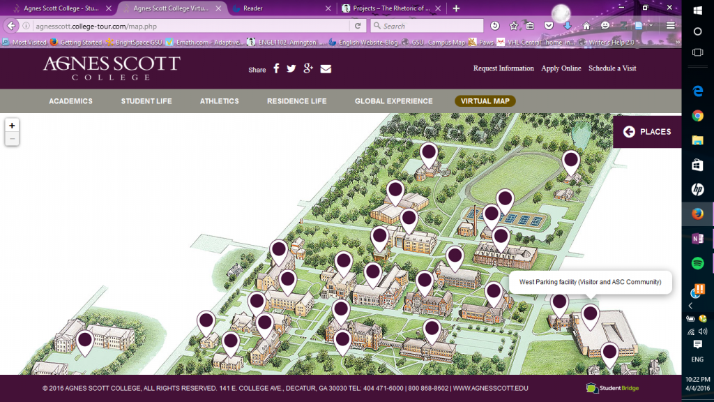 Virtual map of the Agnes Scot's campus, from: agnesscott.edu