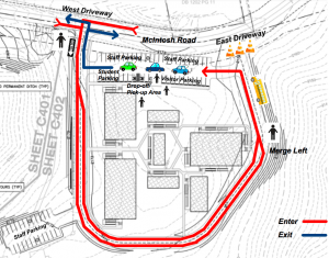 Arrival/Dismissal Map for IC Imagine McIntosh Rd Campus