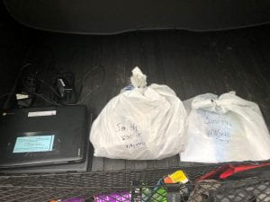 picture of plastic bags in trunk