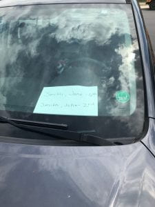 Picture of windshield with names displayed