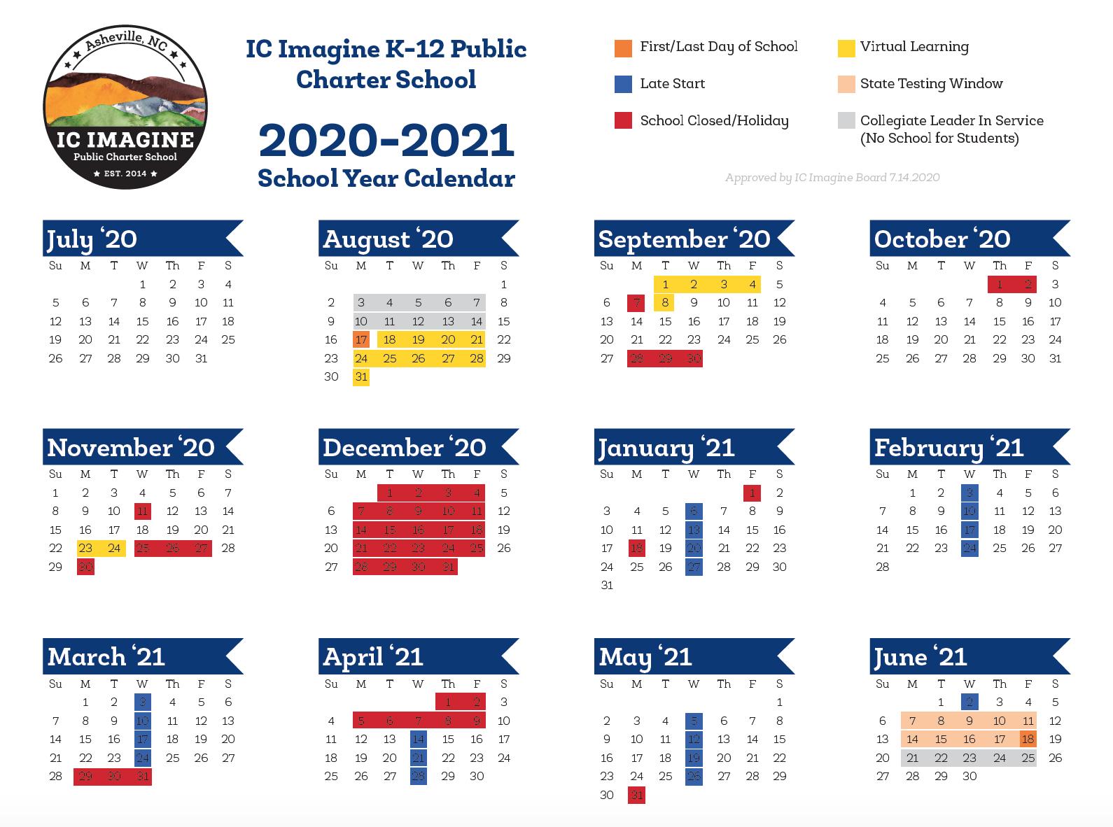 2020 2021 School Calendar – IC Imagine: A Public Charter School