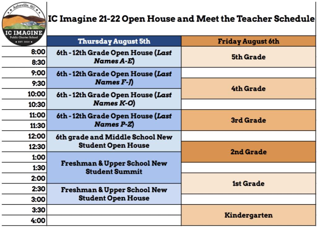 Open House and Meet the Teacher Schedule 21.22