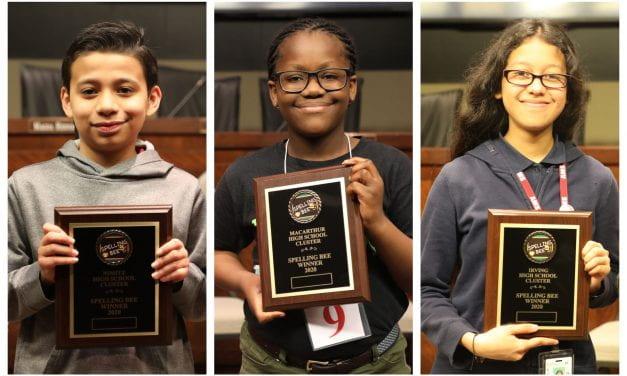¡Y los ganadores del concurso de ortografía de Irving ISD son…!