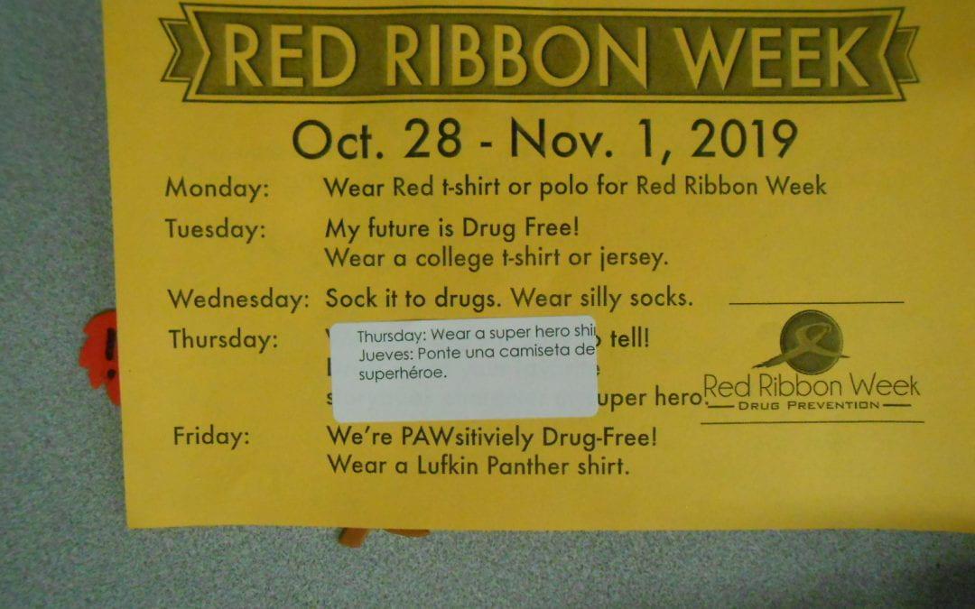 Red Ribbon Week – October 28-November 1, 2019