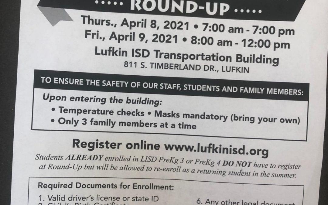 PreKindergarten and Kindergarten Round-Up- Thursday, April 8 and Friday, April 9, 2021