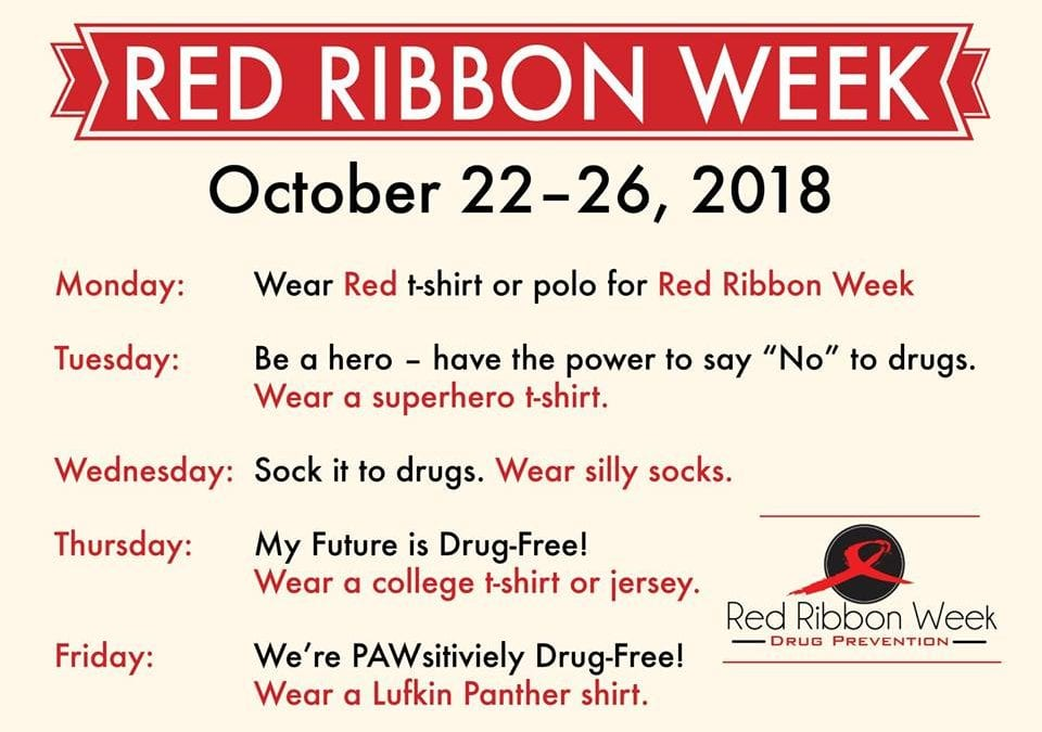 Red Ribbon Week October 22-26, 2018
