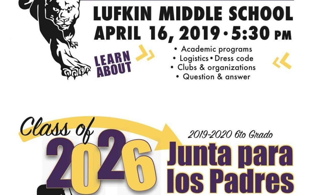 LMS Hosting Incoming 6th Grade Parent/Student Meeting April 16th