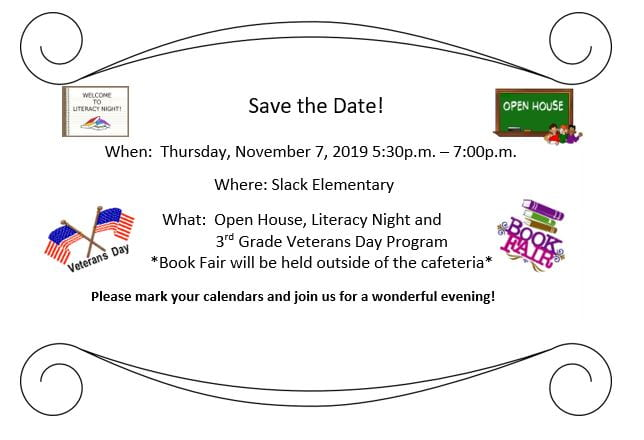 Veterans Day Program, Literacy Night, and Book Fair: Save the Date!