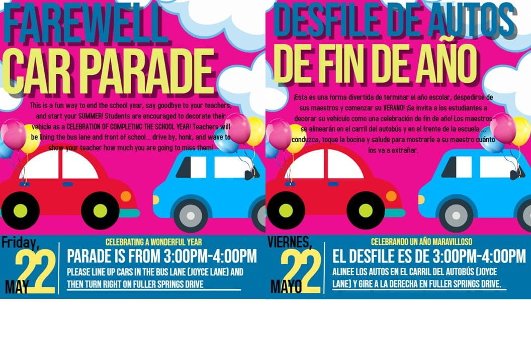 Farewell Car Parade Friday, May 22nd from 3:00PM-4:00PM