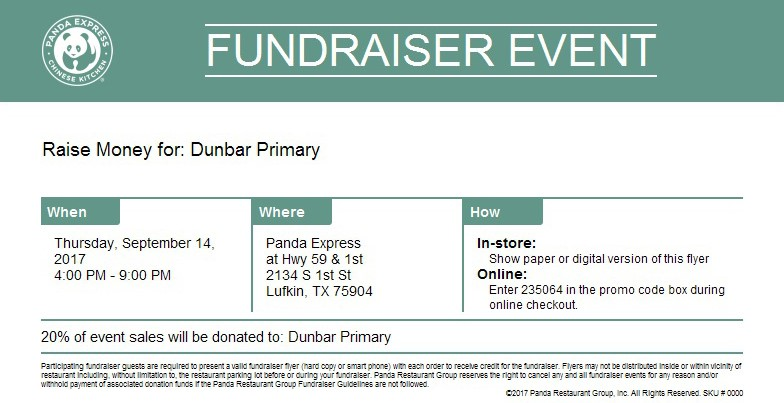 Fundraiser Event at Panda Express tonight!  sc 1 st  Lufkin ISD & Dunbar Primary | Dunbar Primary School in Lufkin Texas Aboutintivar.Com