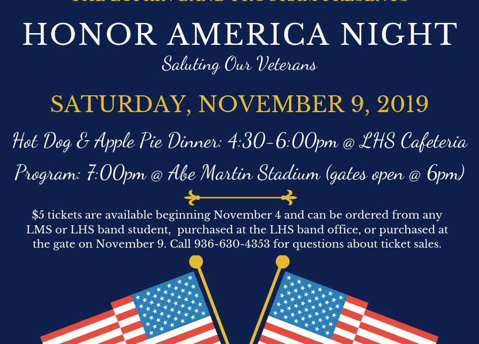 Honor America Night: Saturday, November 9, 2019