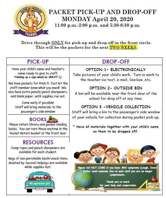 Dunbar Packet Information for Monday, April 20, 2020