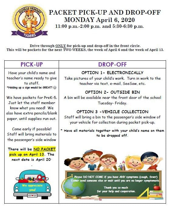 Dunbar Packet Information for Monday, April 6, 2020