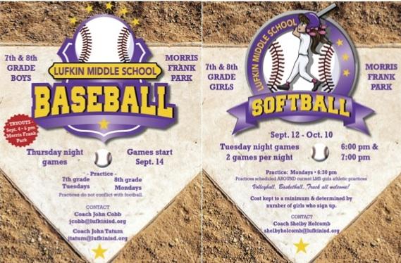 Lufkin Middle School Beginning Baseball and Softball Program for 7th & 8th Graders