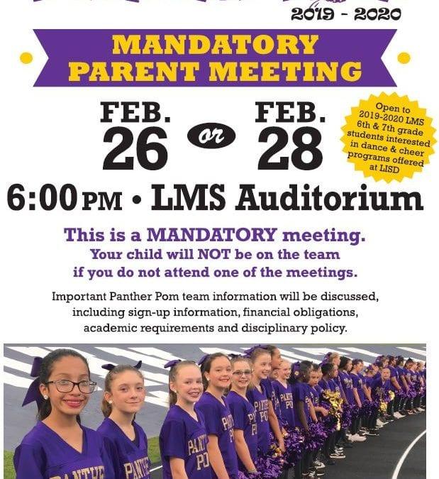 Panther Pom Mandatory Parent Meeting